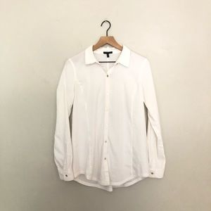 Eileen Fisher Classic White Collar Button Up